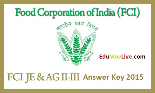 FCI JE Answer Key 2015