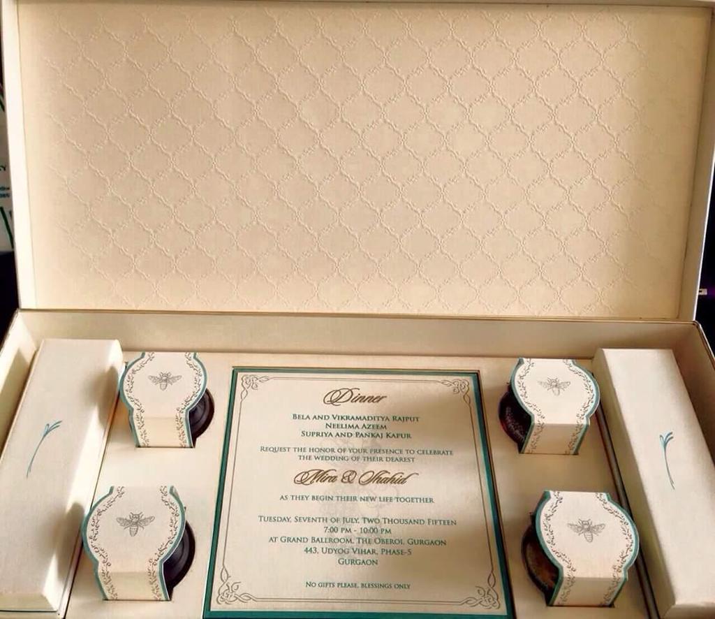 Shahid Kapoor and Mira Rajput Wedding Card