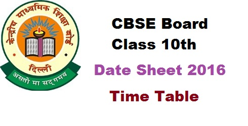 CBSE 10th Date Sheet 2016