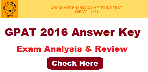GPAT 2016 Answer Key