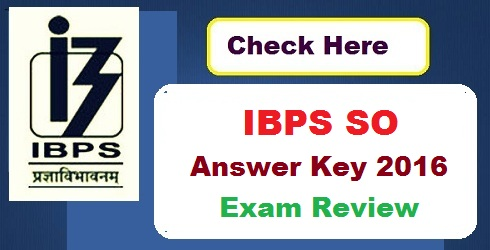 ibps so answer key 2016