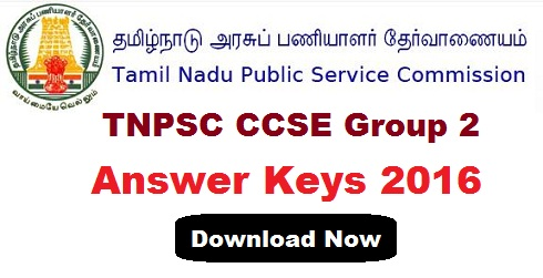 TNPSC CCSE Group 2 Answer Key 2016