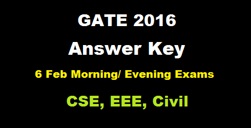 gate 2016 answer key 6 feb