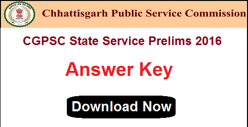 CGPSC State Service Prelims Answer Key 2016