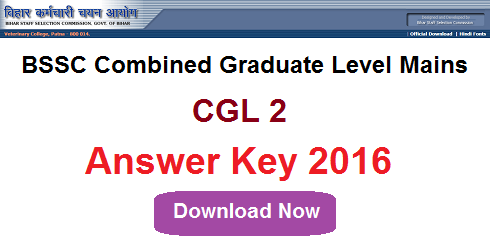 BSSC CGL 2 Answer Key 2016