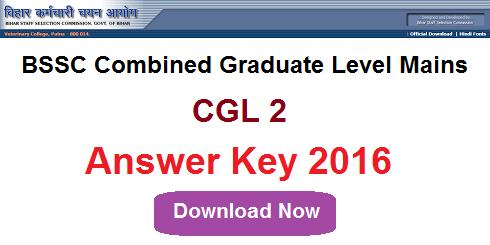 BSSC CGL 2 Answer Key 2016