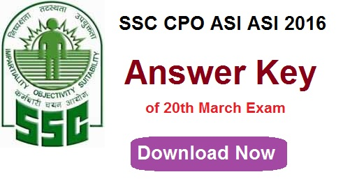 SSC CPO SI ASI Answer Key 2016 | 20th March Delhi Police Paper 1 Solutions