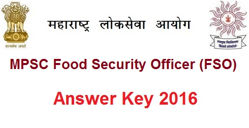 Maharashtra MPSC FSO Answer Key 2016