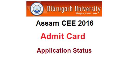 Assam CEE 2016 Admit Card