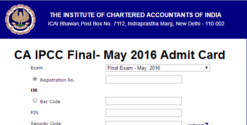 ICAI CA IPCC Final Admit Card 2016