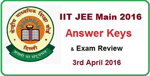 JEE Main 2016 Answer Key