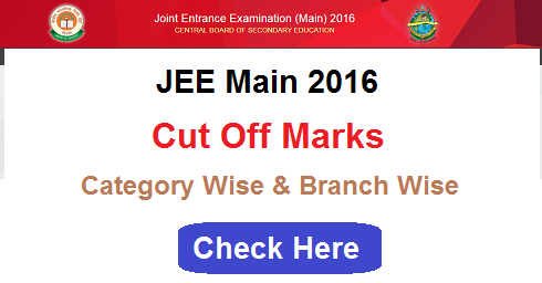 IIT JEE Main 2016 Cut Off Marks