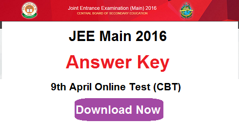 JEE Main 2016 Answer Key of 9th April