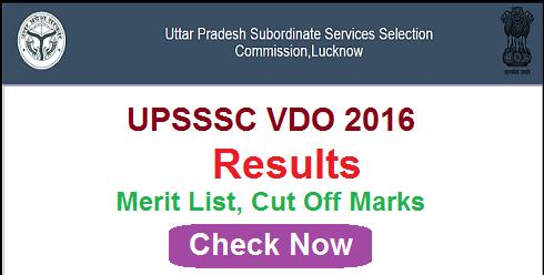 UPSSSC VDO Result 2016
