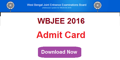 WBJEE 2016 Admit Card