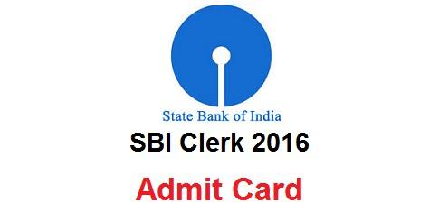 SBI Clerk Admit Card 2016