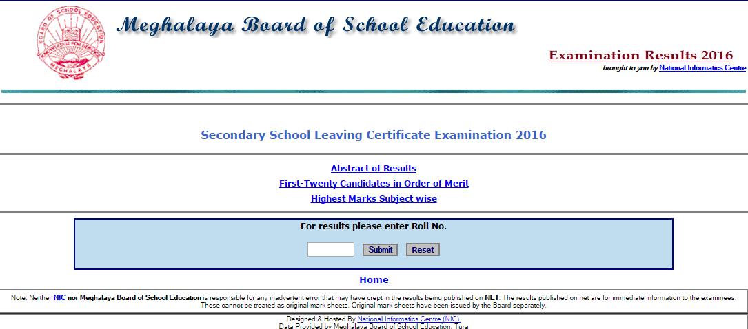 Meghalaya Board SSLC Result 2016