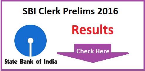 SBI Clerk Prelims Result 2016 Date