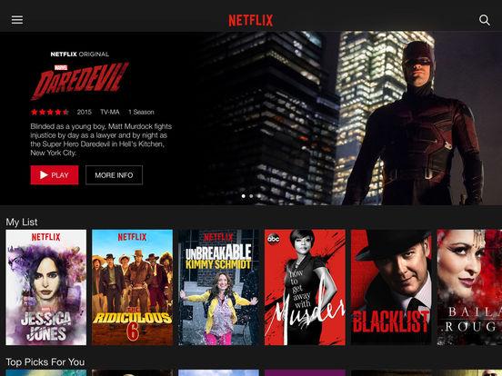 Netflix app on iPad