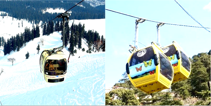 Popular ropeways in India Jakhu Ropeway and gulmarg gondola